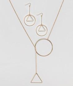 Ожерелье и серьги в подарочном наборе Nylon - Золотой
