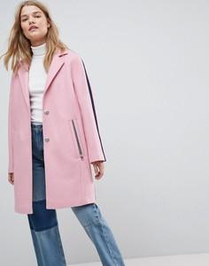 Пальто с отделкой в спортивном стиле ASOS - Розовый