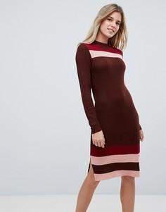 Трикотажное облегающее платье в полоску First & I - Красный