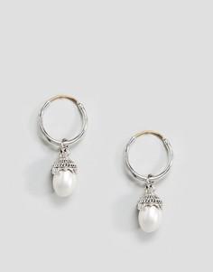 Серьги-кольца с искусственным жемчугом ASOS - Серебряный