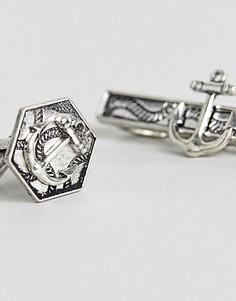 Запонки и зажим для галстука в подарочном наборе ASOS - Серебряный