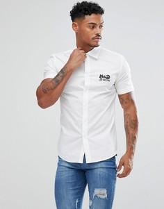 Белая обтягивающая рубашка с логотипом Love Moschino - Белый
