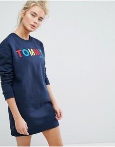 Платье-свитшот с разноцветным логотипом Tommy Jeans - Темно-синий