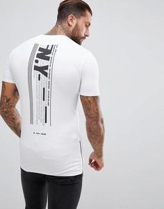 Длинная обтягивающая футболка с принтом NYC и молниями по бокам ASOS - Белый