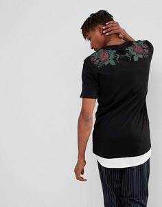 Удлиненная футболка с принтом роз на спине и контрастным подолом ASOS - Черный