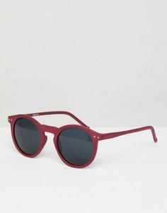 Круглые солнцезащитные очки в матовой розовой оправе с дымчатыми стеклами ASOS - Розовый