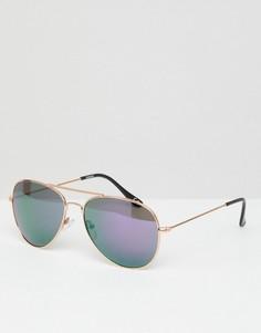 Солнцезащитные очки-авиаторы с цветными зеркальными стеклами ASOS - Золотой