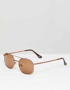 Квадратные солнцезащитные очки медного цвета с коричневыми стеклами ASOS - Медный