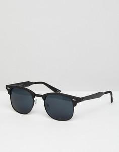 Солнцезащитные очки в стиле ретро в черной матовой оправе с металлической отделкой ASOS - Черный