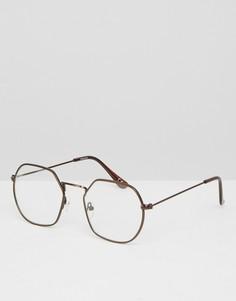 Очки с прозрачными стеклами в металлической оправе медного цвета ASOS - Медный