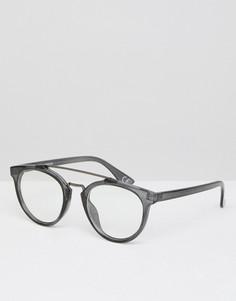 Круглые очки с прозрачными стеклами и металлической планкой сверху ASOS - Черный