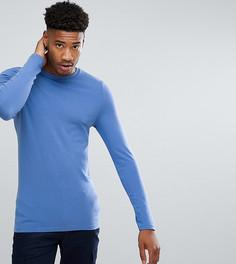 Обтягивающая футболка с длинными рукавами и круглым вырезом - Синий Asos