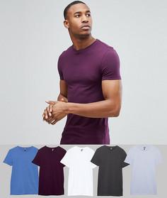 5 обтягивающих футболок с круглым вырезом ASOS - СКИДКА - Мульти