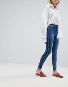 Зауженные джинсы со шнуровкой Urban Bliss - Синий