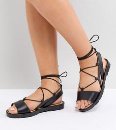 Резиновые сандалии для широкой стопы с завязками ASOS FIZZLE - Черный