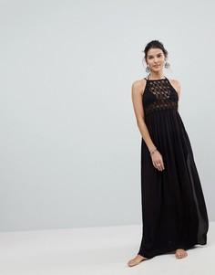 Пляжное платье макси с ажурной вставкой ASOS Premium - Черный