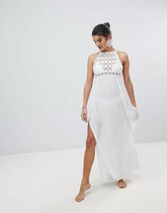 Пляжное платье макси с ажурной вставкой ASOS Premium - Белый