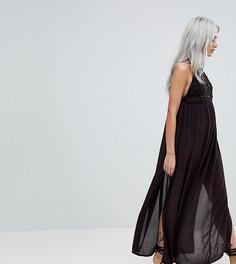Пляжное платье макси с ажурной вставкой ASOS PETITE Premium - Черный