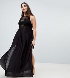 Пляжное платье макси со вставкой кроше ASOS CURVE Premium - Черный