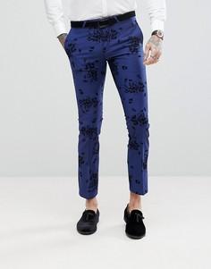 Супероблегающие брюки с набивкой флок Noose & Monkey - Синий