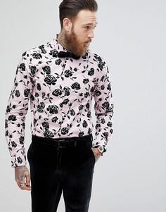 Рубашка скинни с флоковой отделкой Noose & Monkey - Розовый