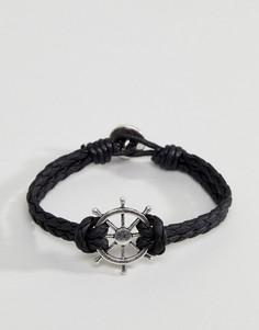 Черный плетеный браслет с подвеской в виде морского штурвала Icon Brand - Черный