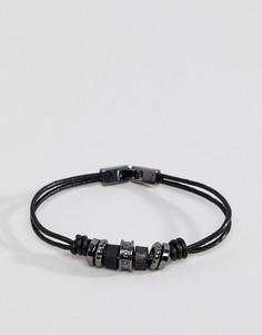 Черный кожаный браслет с бусинами Icon Brand - Черный