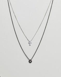 2 ожерелья с подвесками (серебристый/цвет пушечной бронзы) Icon Brand эксклюзивно для ASOS - Серебряный