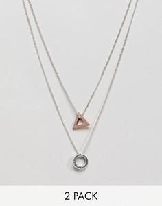 2 ожерелья с треугольной и круглой подвеской Icon Brand эксклюзивно для ASOS - Серебряный