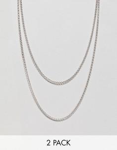 Короткое и длинное ожерелье (2 шт.) Icon Brand эксклюзивно для ASOS - Серебряный