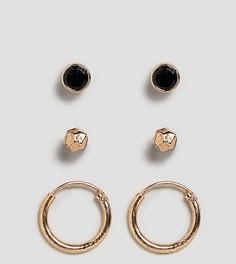 Набор из 3 пар золотистых сережек (гвоздики / кольца) Icon Brand эксклюзивно для ASOS - Золотой