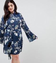Платье мини с рукавами-кимоно и поясом ASOS CURVE - Мульти