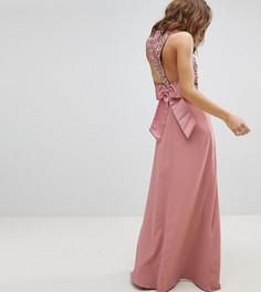 Платье макси без рукавов с пайетками на топе, вырезом на спине и бантом Maya - Розовый