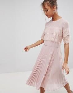 Платье миди с плиссированной юбкой Elise Ryan - Бежевый