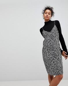 Платье-комбинация с анималистическим принтом Moss Copenhagen - Черный