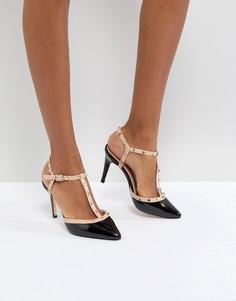 Черные кожаные туфли на каблуках с заклепками Dune London Catelyn - Черный