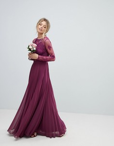 Платье макси с кружевными рукавами и бахромой ASOS WEDDING - Фиолетовый