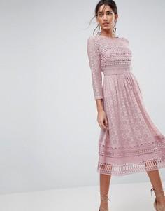 Кружевное платье миди ASOS PREMIUM - Бежевый