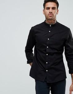 Черная эластичная джинсовая рубашка узкого кроя с воротником-стойкой ASOS - Черный