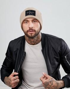 Шапка-бини с логотипом Calvin Klein Jeans - Бежевый