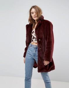 Пальто миди с искусственным мехом New Look - Фиолетовый