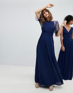 Сетчатое плиссированное платье макси с оборкой в горошек TFNC WEDDING - Темно-синий
