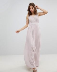 Платье макси с запахом и отделкой TFNC WEDDING - Коричневый