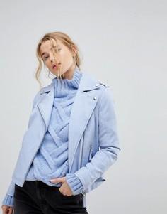 Байкерская куртка из искусственной кожи Miss Selfridge - Синий