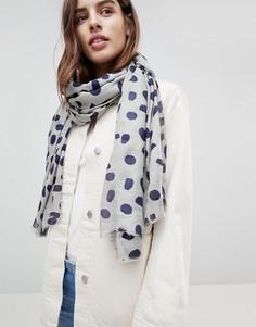 Легкий шарф в горошек Ichi - Серый