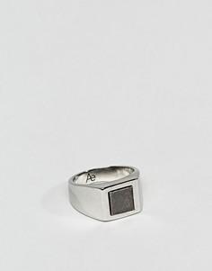 Серебристое кольцо-печатка с гематитом Aetherston - Серебряный