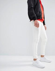 Светло-бежевые джинсы скинни с полосками по бокам ASOS - Белый