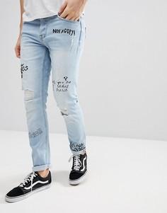 Узкие джинсы со сплошным принтом Only & Sons - Синий