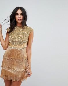 Платье мини с цветочной отделкой и бахромой A Star Is Born - Золотой