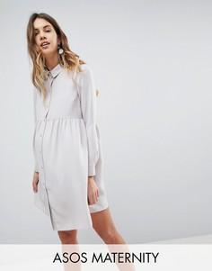 Свободное платье-рубашка мини ASOS MATERNITY - Серый